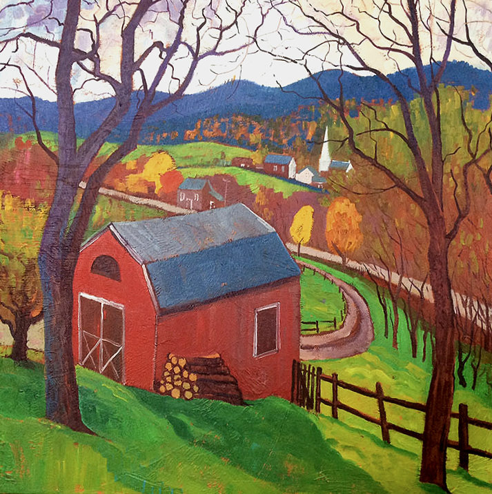 red barn - Stowe, VT. Oil on Canvas 30cmx30cm© Chris Cyprus