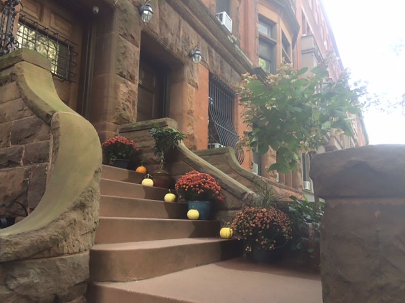 The brownstone apartments of 69th st , Manhattan in the fall