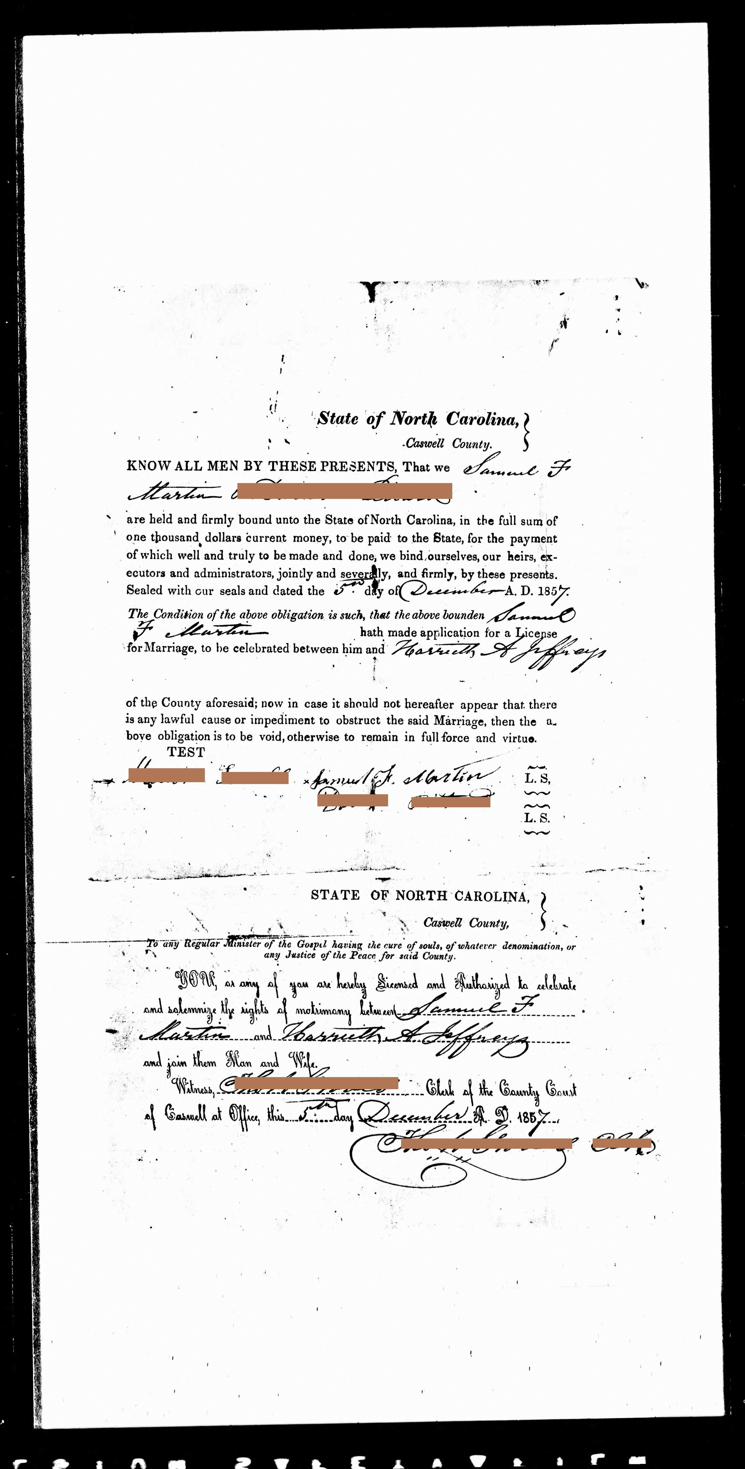 Generation 6:  Samuel married the younger sister of his first wife, after she died    (1857)   Redacted 1857 marriage certificate of Samuel F. Martin + Harriet Jeffries (4x great grandparents), html hex color codes sourced from photographs of my mother. Digital print, 36 x 18 in