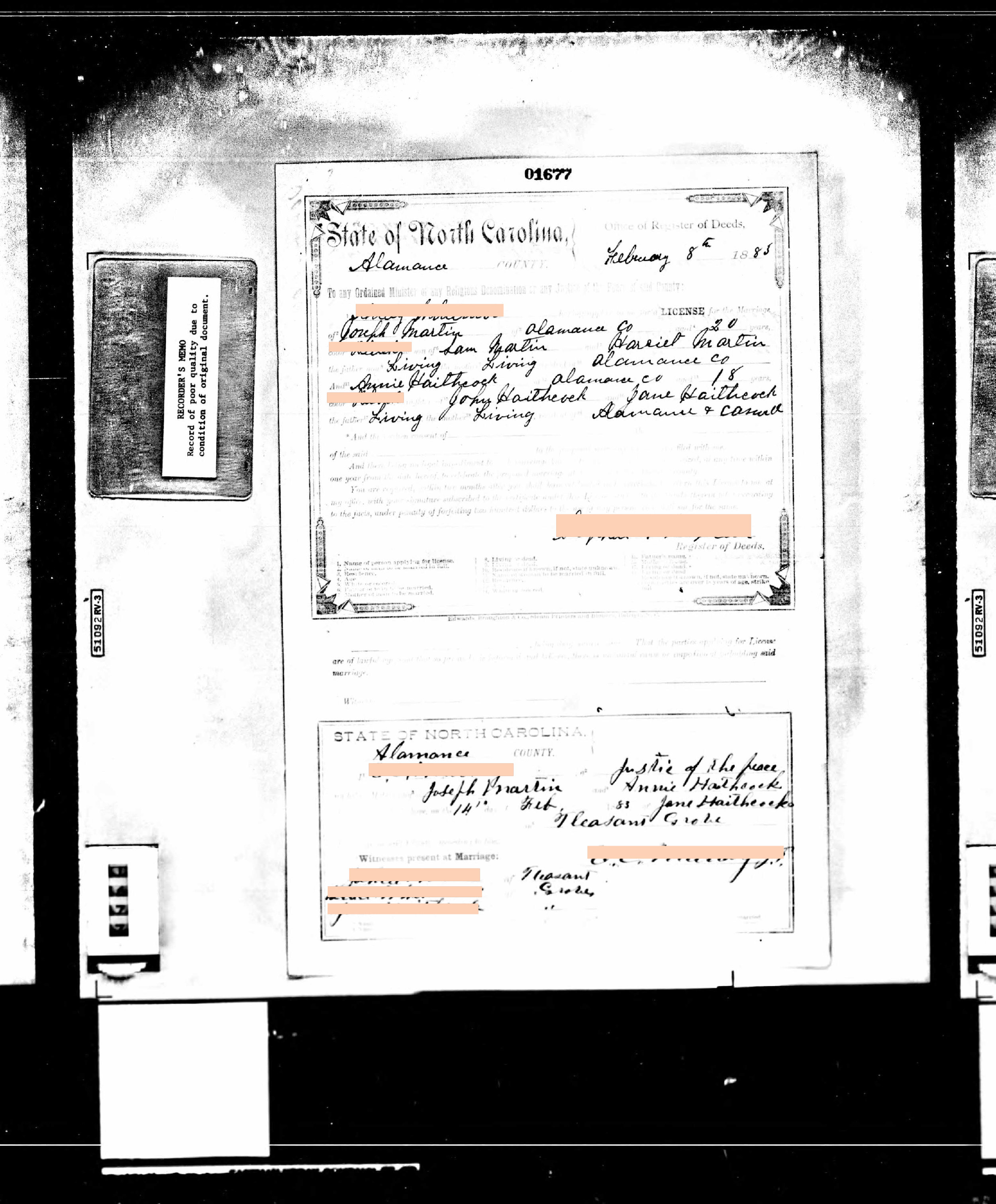 Generation 5:  'Married on Valentine's Day' kind of love (1883)    Redacted 1883 marriage certificate of Joseph B. Martin + Annie Haithcock (3x great grandparents) on Valentine's day of 1883, html hex color codes sourced from photographs of my mother.  Digital print  19 x 16 in