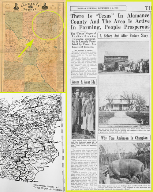 Clockwise: 1800s map of Alamance County, NC with Pleasant Grove indicated, newspaper clipping from December 13, 1938 Issue of the Burlington Daily Times, and a map of the migratory patterns of the Occaneechi, Saponi and Tutelo Native American, through NC and VA.