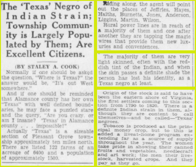 Cropped images of newspaper clipping from the December 12, 1938 Issue of The (Burlington) Daily Times-News.