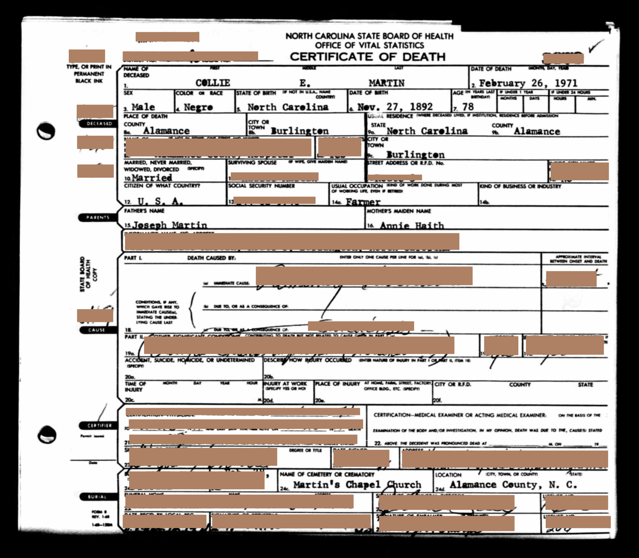 Generation 4:  Sometimes a Mulatto, Died a Negro (1971)    Redacted 1971 death certificate of Collie E. Martin (2x great grandfather), html hex color codes sourced from photographs of my mother.  Digital Print  10 x 12 in