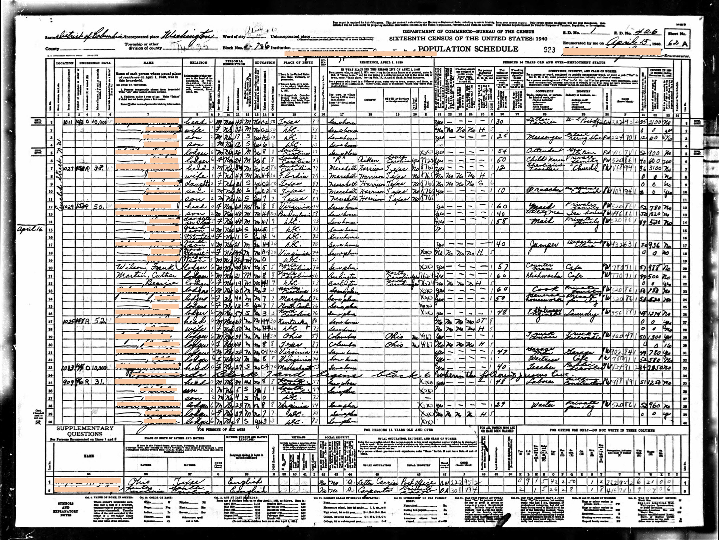 Generation 3:  Negro Boarders in DC (1940)    Redacted 1940 census records of Cuther Martin (great grandfather), living as a boarder in Washington, DC with his wife and father-in-law, html hex color codes sourced from photographs of my mother.  Digital Print  12 x 16