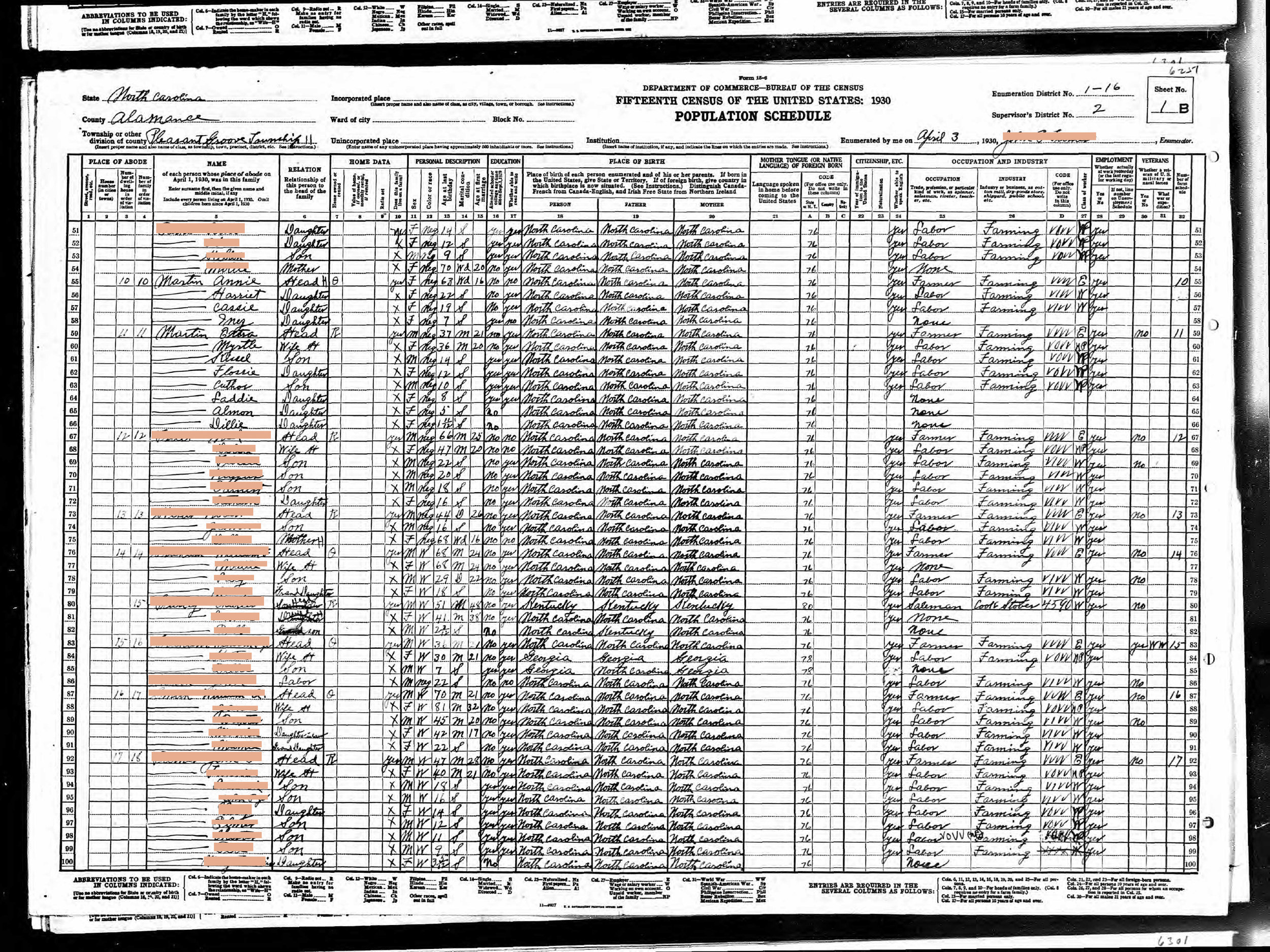 Generation 3:  Negro child in Pleasant Grove, White man in Danville, VA (1930)    Redacted 1930 census records featuring the young family of Collie E. Martin, father of Cuther Martin (2x great grand father, and great grand father), and neighboring relatives, html hex color codes sourced from photographs of my mother.  Digital Print  12 x 16 in