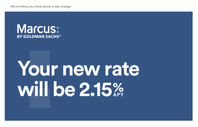 Marcus by Goldman Sachs following Ally bank and lowering their promotional savings rate