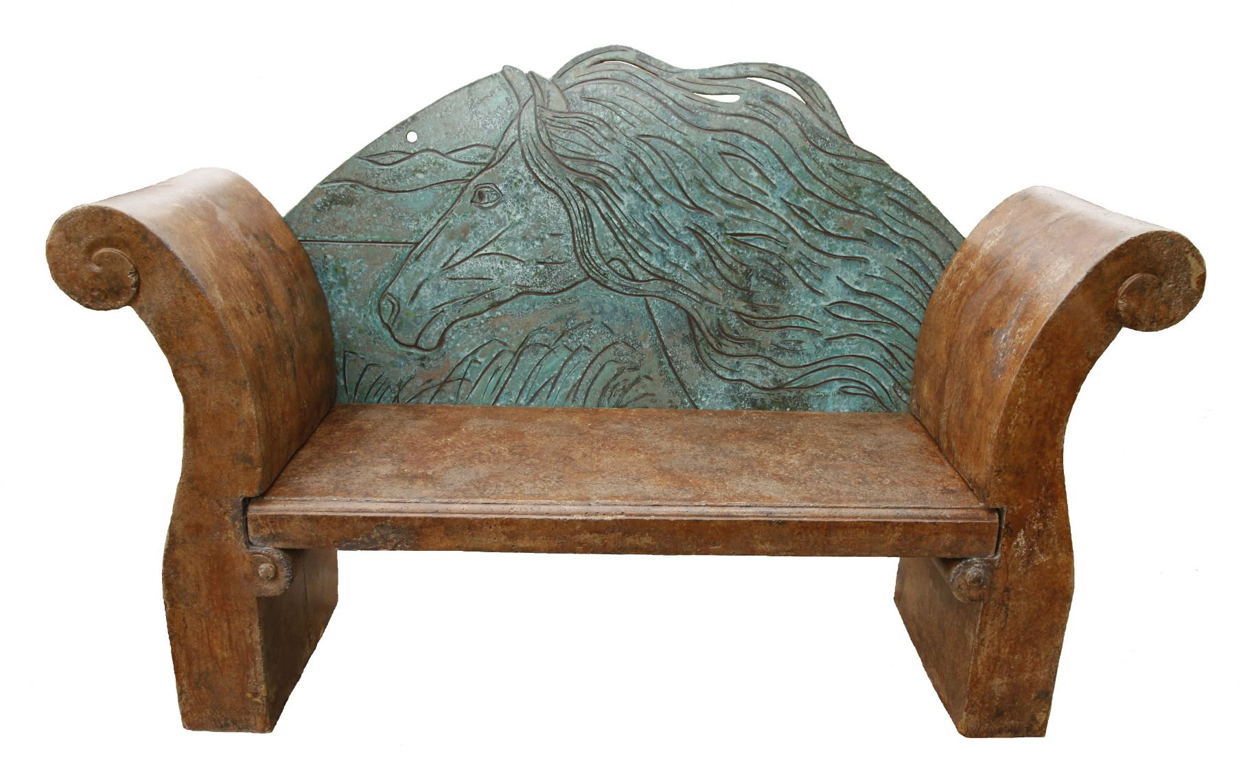"Horse Bench, cast cement and carved copper. 68"" X 45"" X 18"""