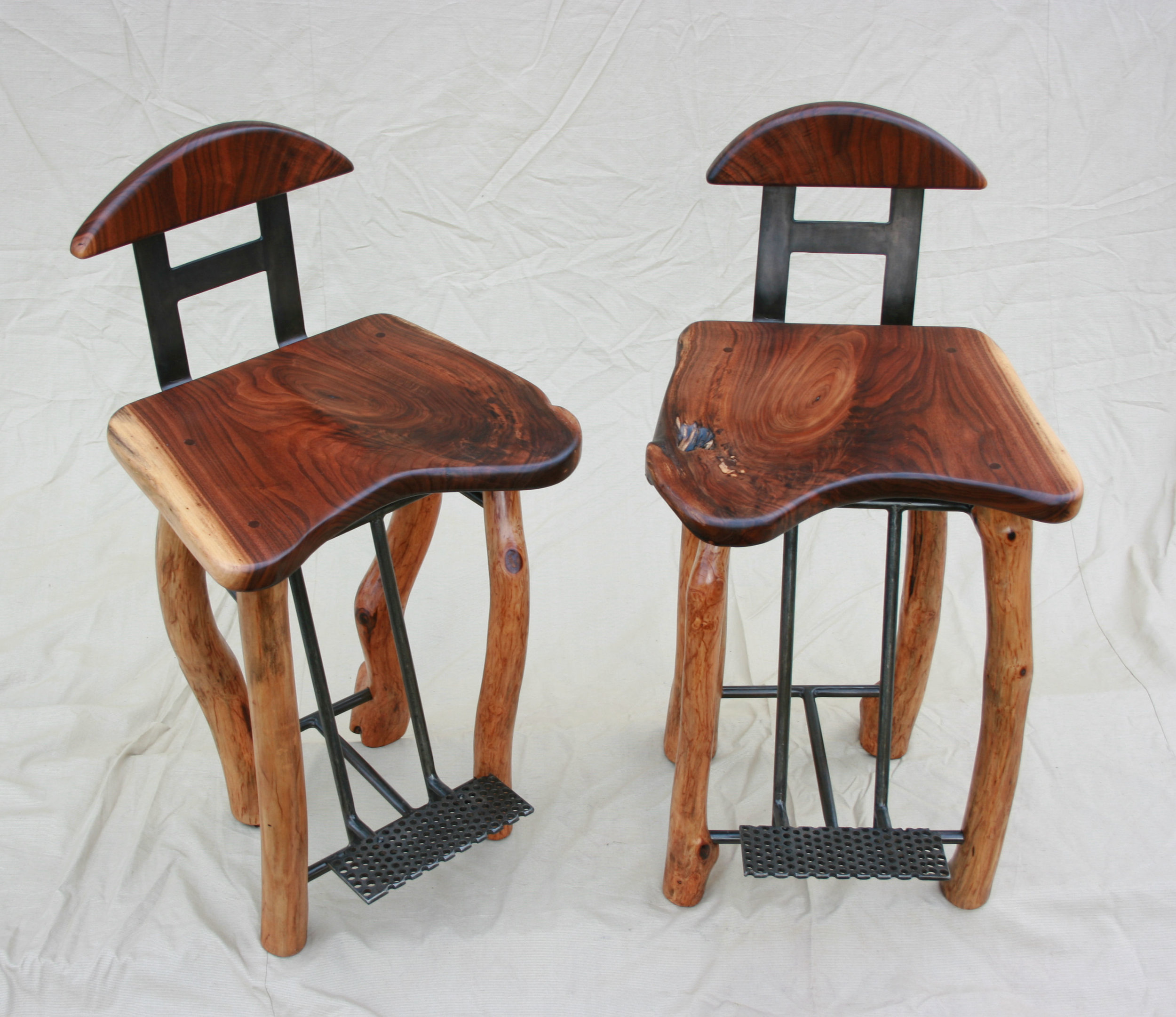SOLD- Handmade Stools- walnut, cherry and steel