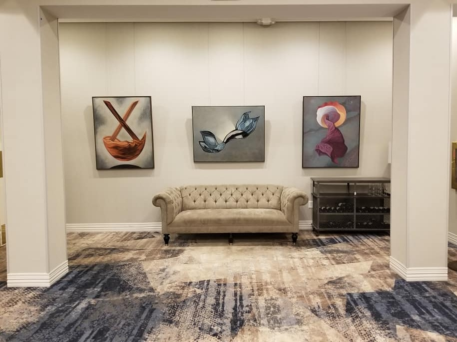 Paintings on display at the Hilton Hotel, Spartanburg, SC