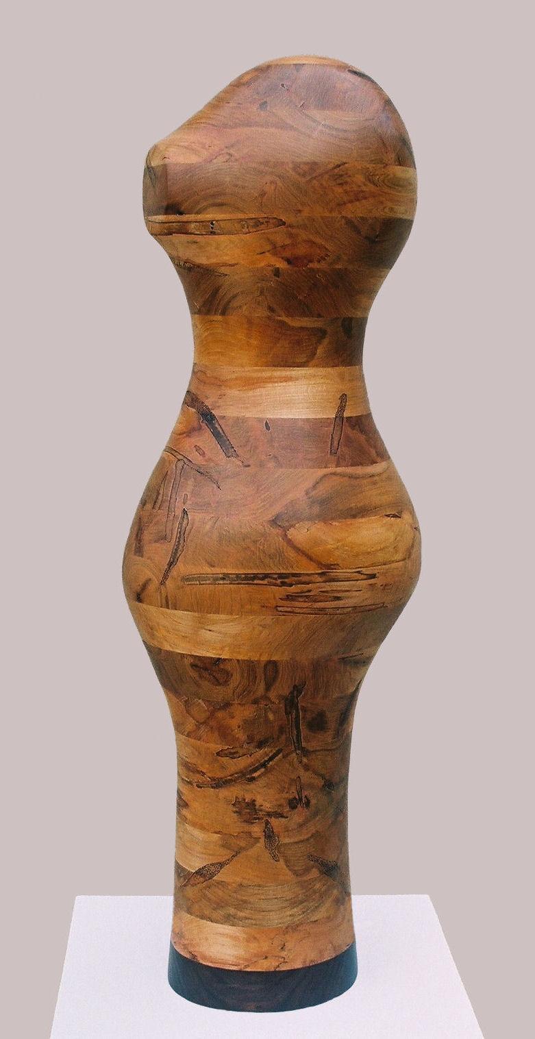"""XX"", Ambrosia Maple with Walnut Wood Sculpture, 38"" x 12"" x 8"""