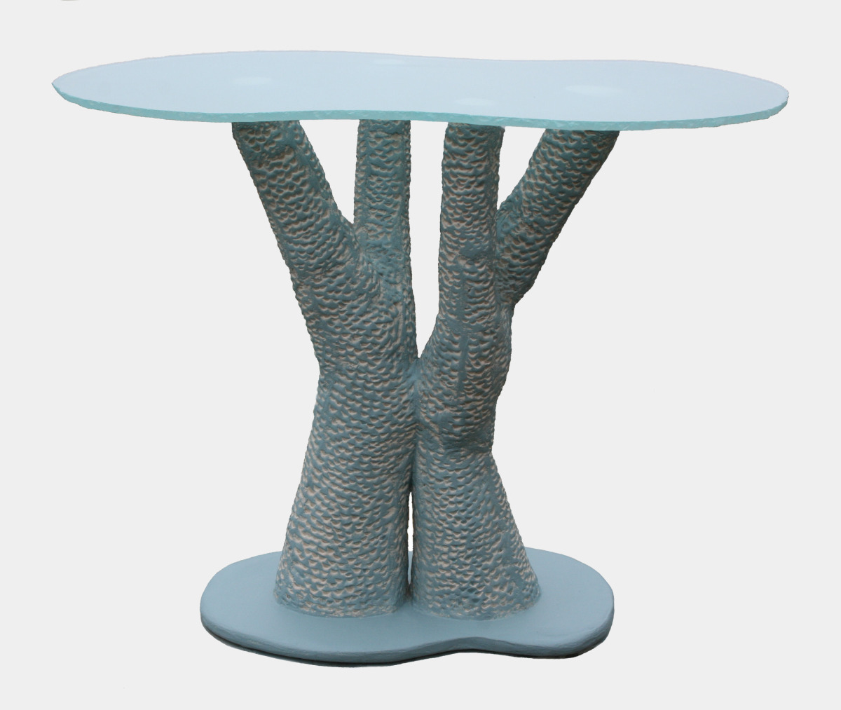 Blue Table with Glass
