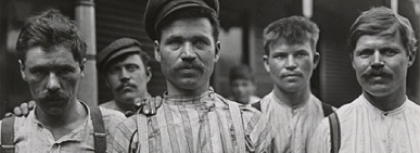 Russian Steel Workers/Lewis Wickes Hine/1909 (printed 1942)/ Gelatin silver print mounted on paperboard/Smith College Museum of Art, Northampton, Massachusetts. Transfer from Hillyer Art Library