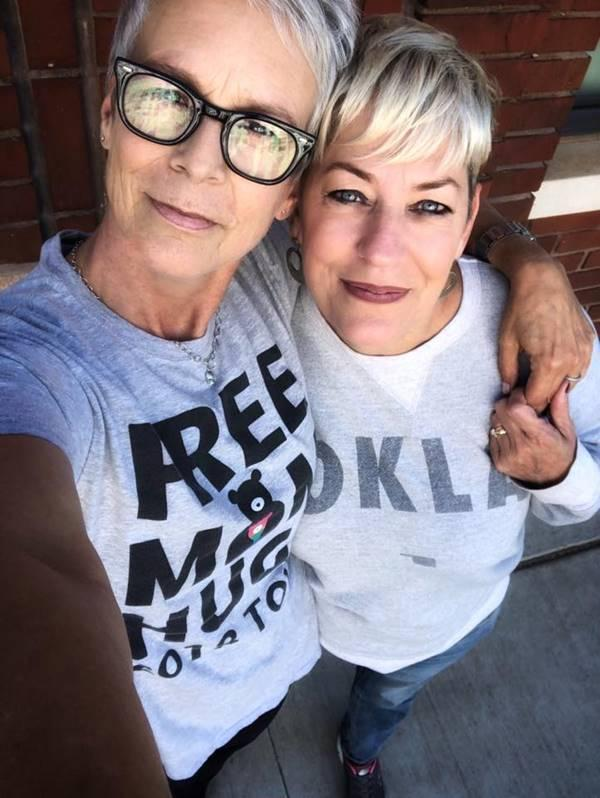 Picture of Jamie Lee Curtis and Sara Cunningham. Jamie Lee Curtis will be portraying Sara's journey as a proud Mama Bear in an upcoming Hollywood film.