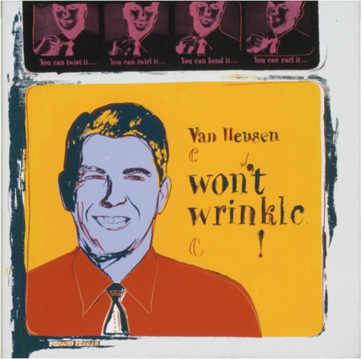 Andy Warhol Van Heusen, 1985 (#356, Ads) 1985 acrylic and silkscreen ink on canvas; signed and dated '85' on canvas overlap image size/ 22 x 22