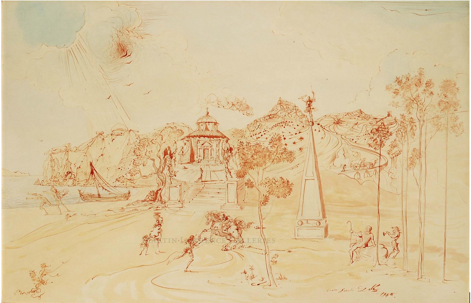 Salvador Dalí, Sans Titre (scène méditerranéenne), 1945 1945 watercolor, brush, pen and red ink on paper laid down on card; signed and dated 'Gala Salvador Dalí 1945' image size/ 25.75 x 39.25