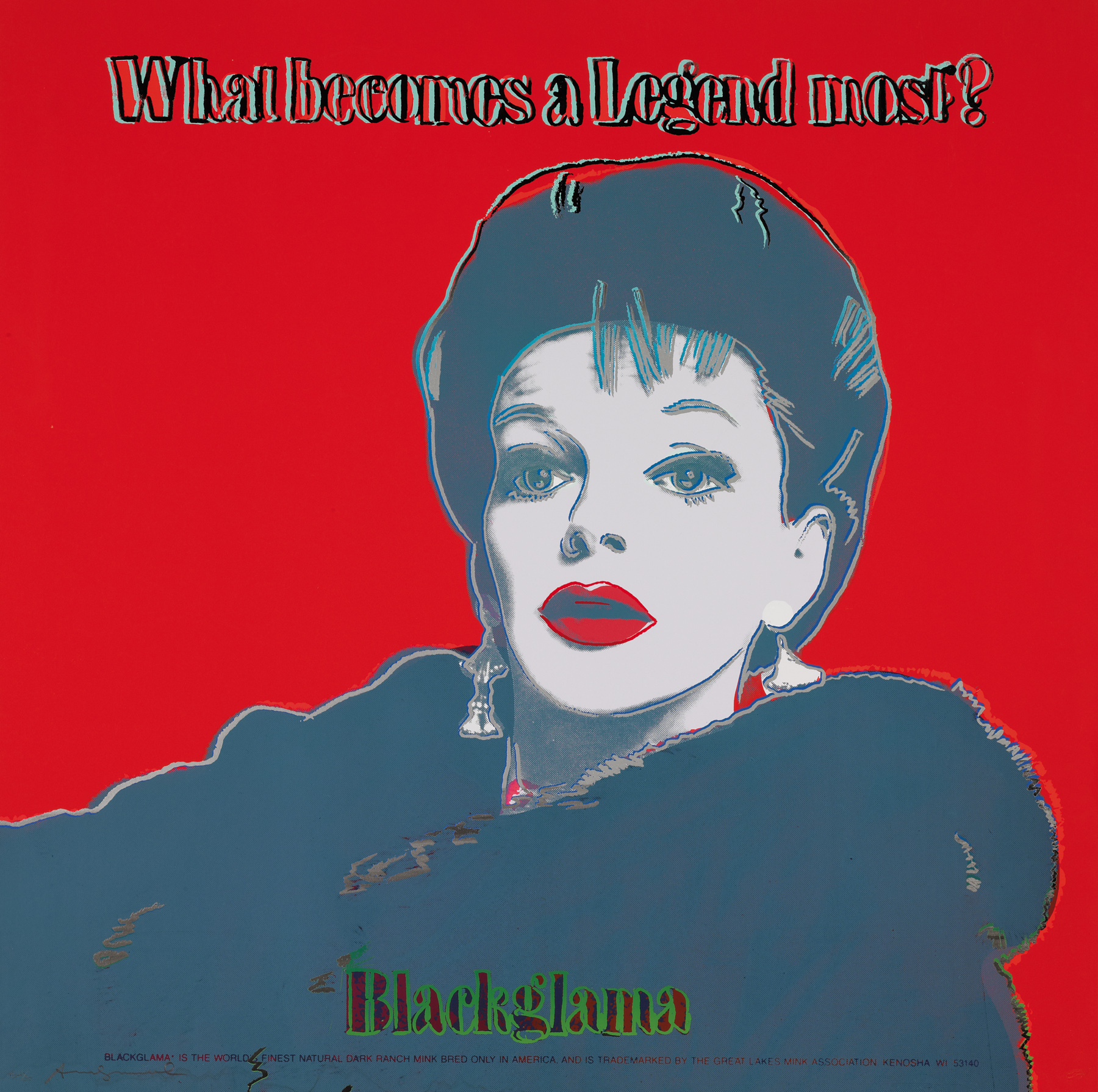 Blackglama, 1985 (#351, Ads) unique trial-proof hand-signed screenprint