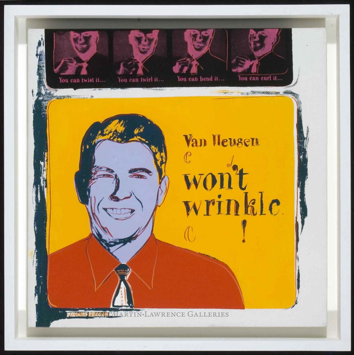 Andy Warhol Van Heusen, 1985 (#356, Ads), acrylic and silkscreen ink on canvas; signed and dated '85' on canvas overlap.