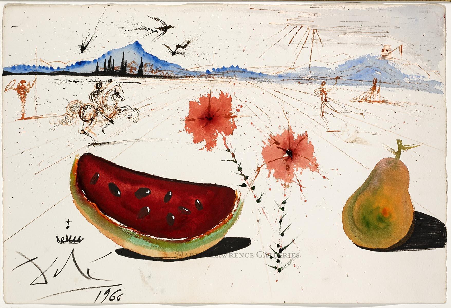 Salvador Dalí, Fleurs, Pastèque et Poire Dans un Paysage Ampurdanais, 1966,    gouache, watercolor, brush and ink, felt-tip pen and ballpoint on paper