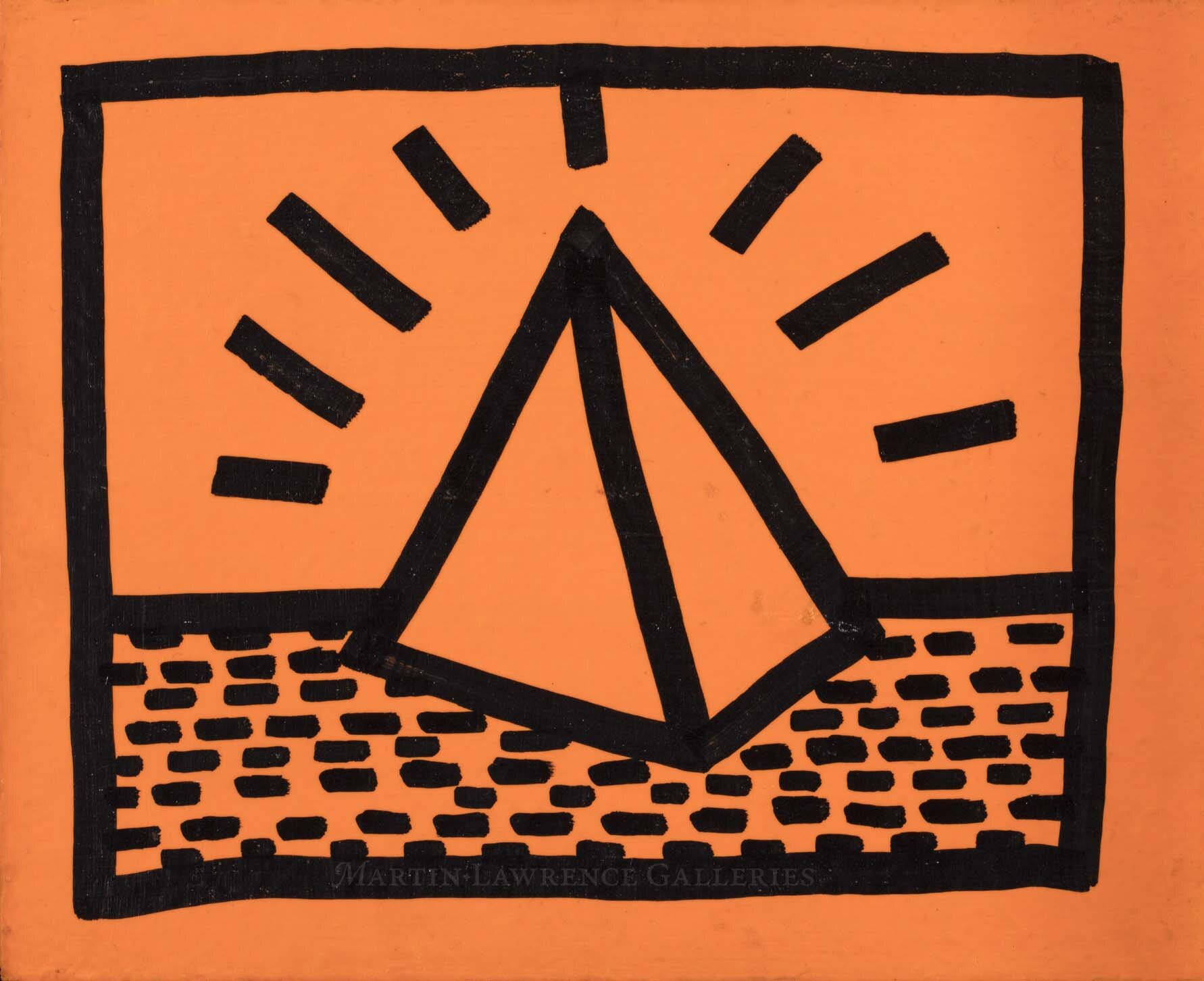 Keith Haring, Untitled, 1982 (May 17, 1982 Pyramid),    fluorescent paint and black marker on wood, signed 'K. Haring May 17, 1983' reverse