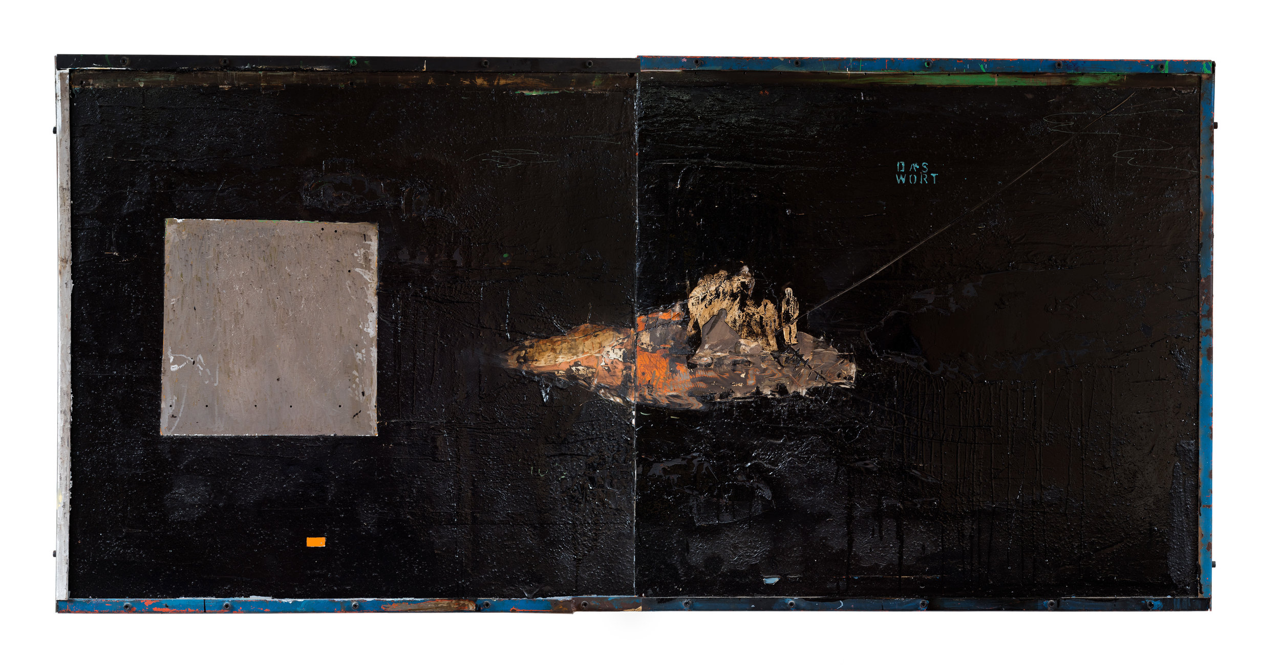 Das wort  2016  Tinta a óleo, tinta acrílica, papel, cola, ação de esmerilhadeira, cimento, vedacit, parafuso Allen, cantoneiras industriais, sobre chapa de ferro laranja  113 x 206 x 9 cm   Coleção Particular
