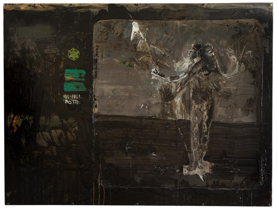 ανδρογόνων  (Andrógeno) 2016 Tinta óleo, ação de esmerilhadeira, ação de microretífica Dremel, ação de martelo, ação de furadeira, adesivo de vinil,tinta acrílica, tinta esmalte automotiva verde, parafuso allen sobre aço galvanizado  120 x 160 x 8 cm    Pintura exposta na 5a Edição do Prêmio EDP das Artes Tomie Ohtake, 2016