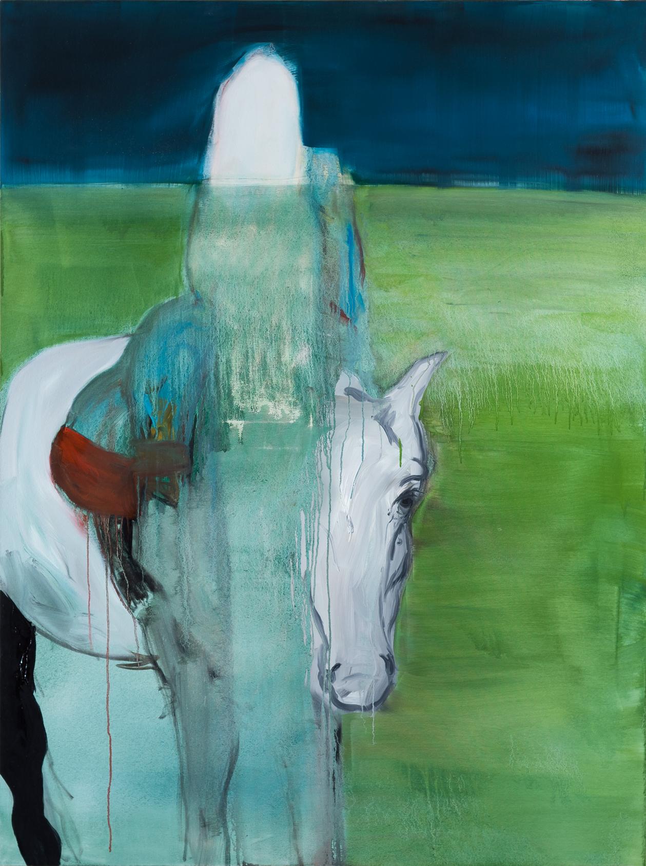 White Horse  2015  Tinta óleo sobre tela  160 x 120 cm   Coleção particular