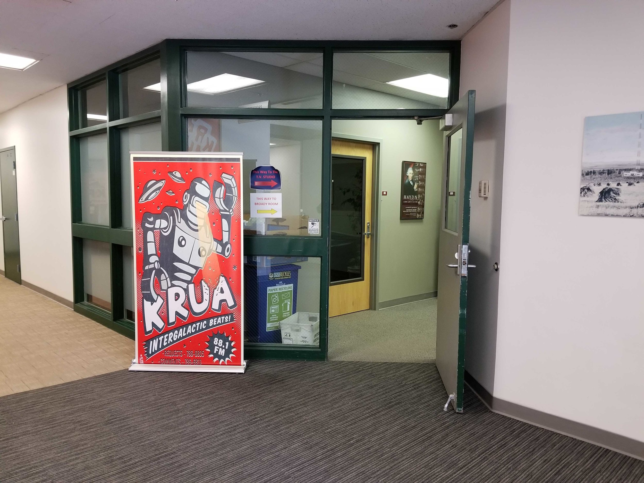 The entrance to our office in the Professional Studies Building.