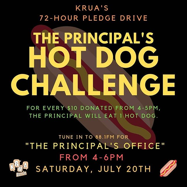 🌭Tune in from 4-6pm TODAY for The Principal's Hot Dog Challenge! 🌭 For every $10 donated during the first hour, the Principal will eat one hot dog! You don't want to miss this special broadcast. Tune in at 88.1FM Anchorage or online at kruaradio.org. 📻 #savekrua hotdogs #theprincipalsoffice #kruaamazing #krua72hrpledgedrive