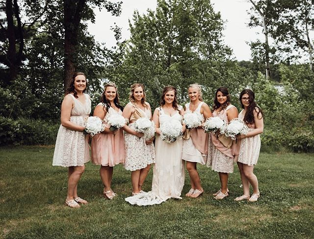 Not only did I get to design the bride's wedding gown, I had the pleasure of making all the bridesmaid's dresses too! Each dress is unique with different lace placement and colors. It was so much fun working with each girl and customizing the dresses to their personalities.