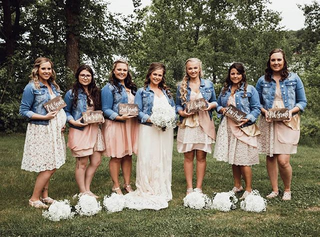 When did you meet the Bride? Such a cute idea for bridesmaids photos!  The denim jackets really complete Whitney's vision.