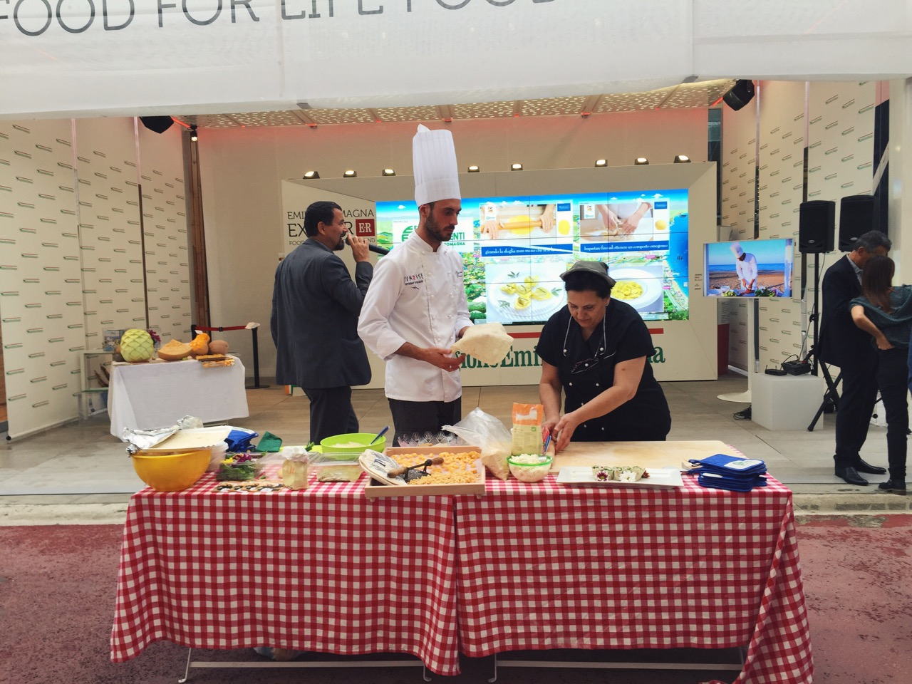 Live cooking demo at Italy's pavilion