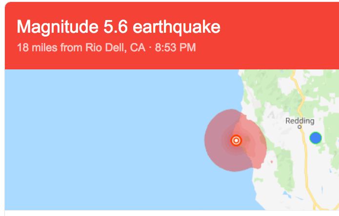 - June 22, 2019 Earth Quake off Petrolia: Magnitude 5.6. In this Earthquake prone Area Landslides can easily happen.Say NO! to sediment in the Mattole, & Devastation caused by unstable slopes.