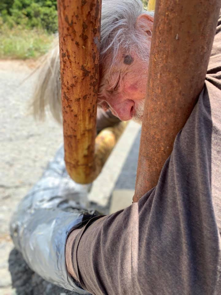 On July 2, 2019 - 87 year old Jack Nounnan locked himself to the entry gate at the lumber mill in Scotia, CA to protest Deforestation in the Mattole & Globally. -