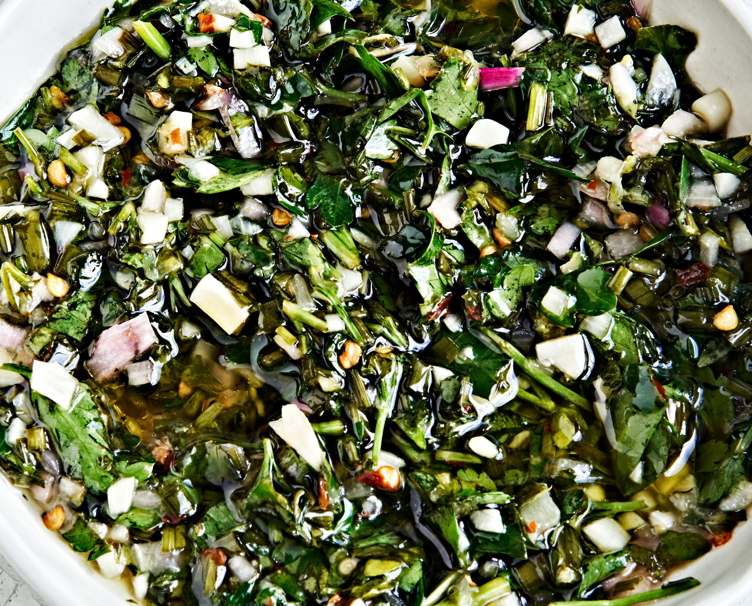 Close-up authentic chimichurri sauce