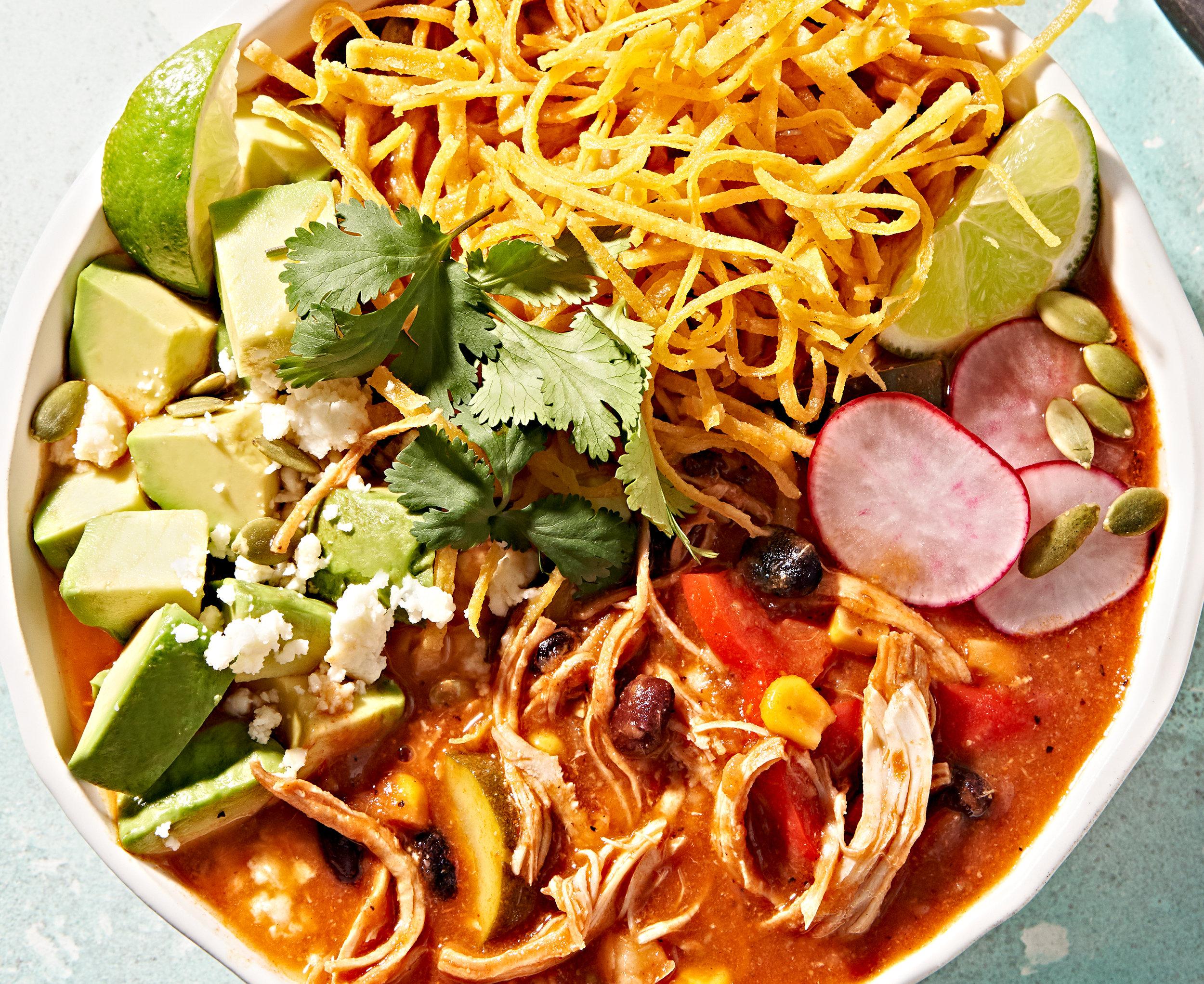 Instant Pot Mexican chicken tortilla soup with avocado