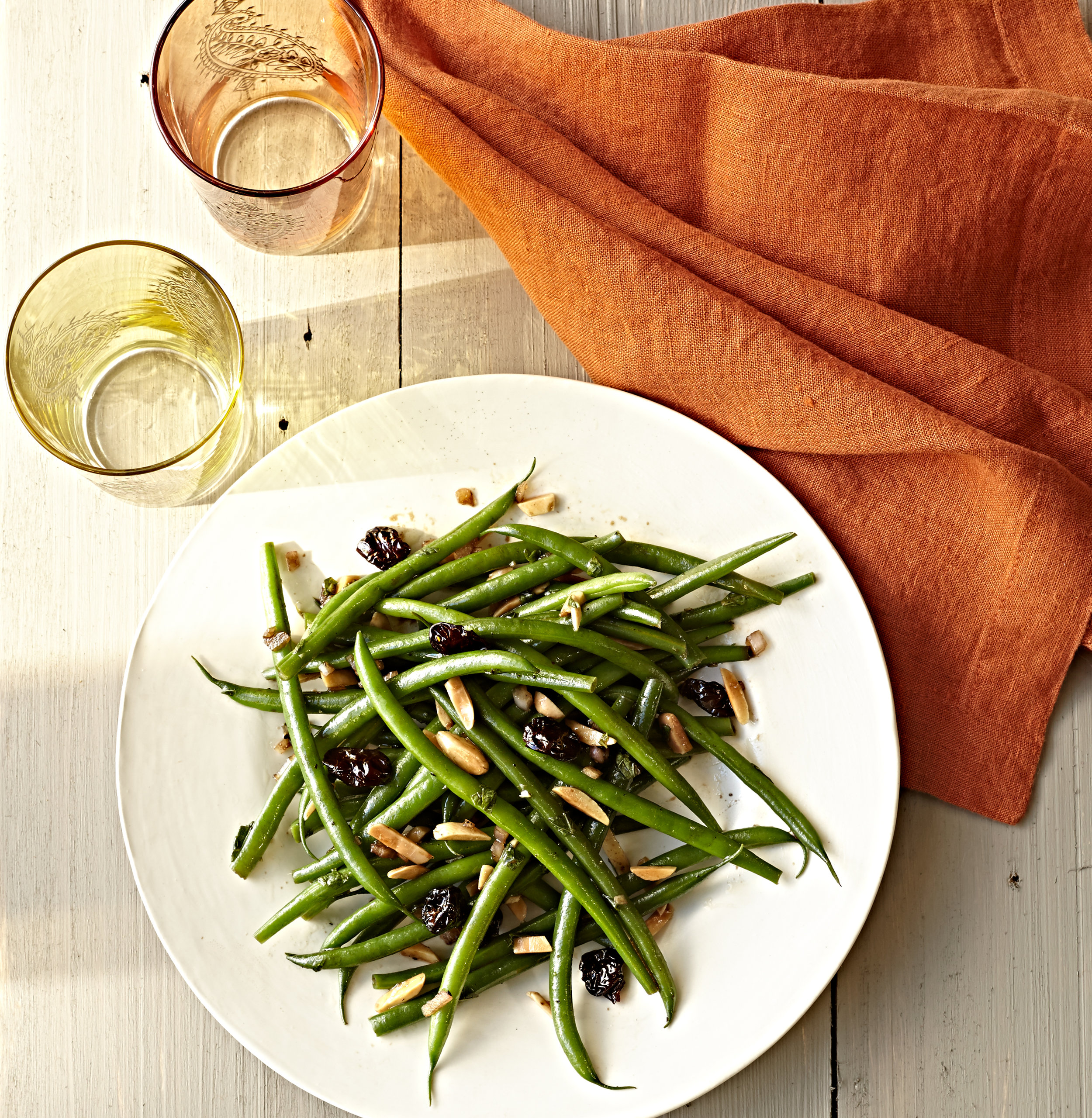Green bean salad with toasted almonds and tart cherry vinaigrette