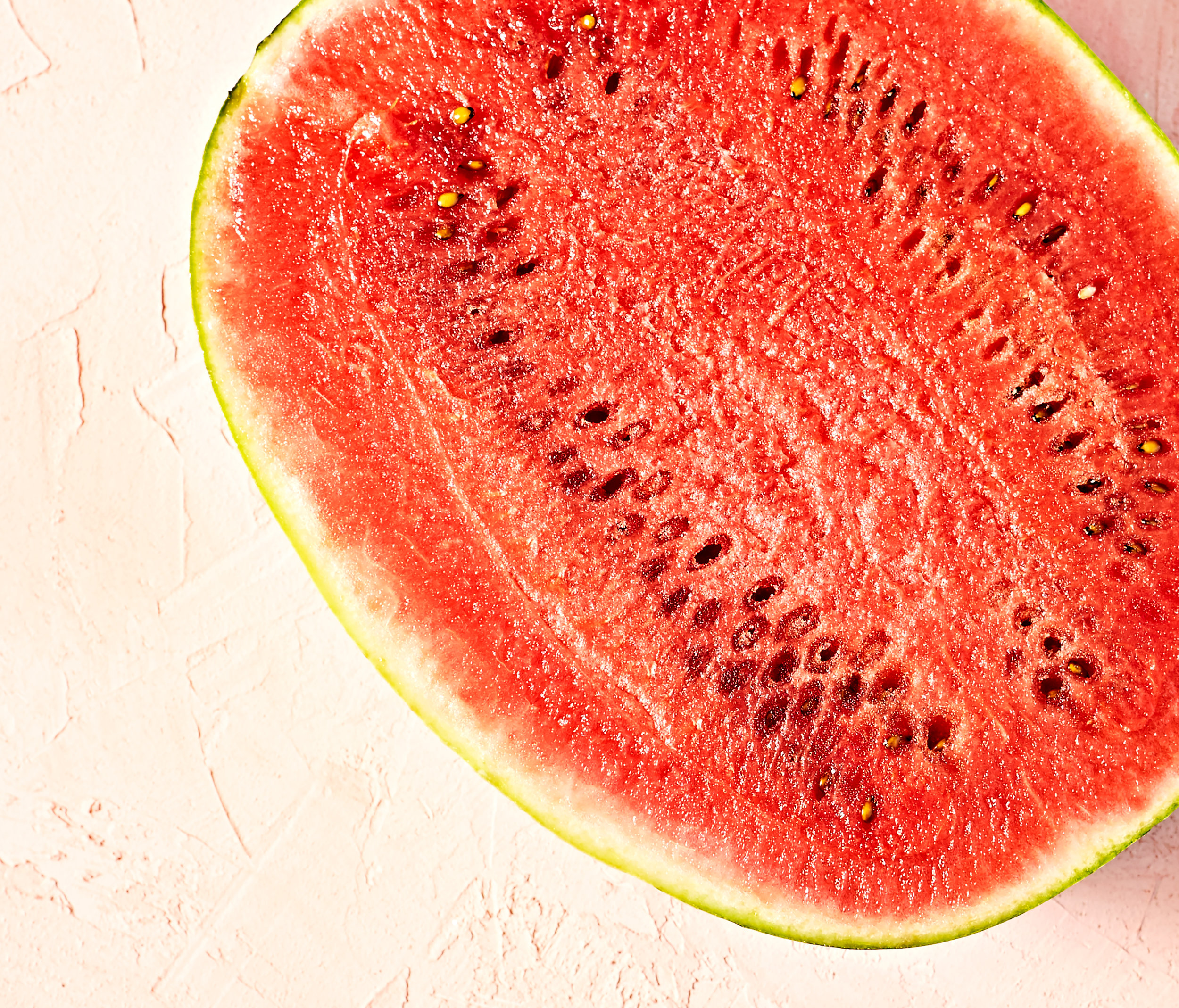 Half of watermelon with seeds