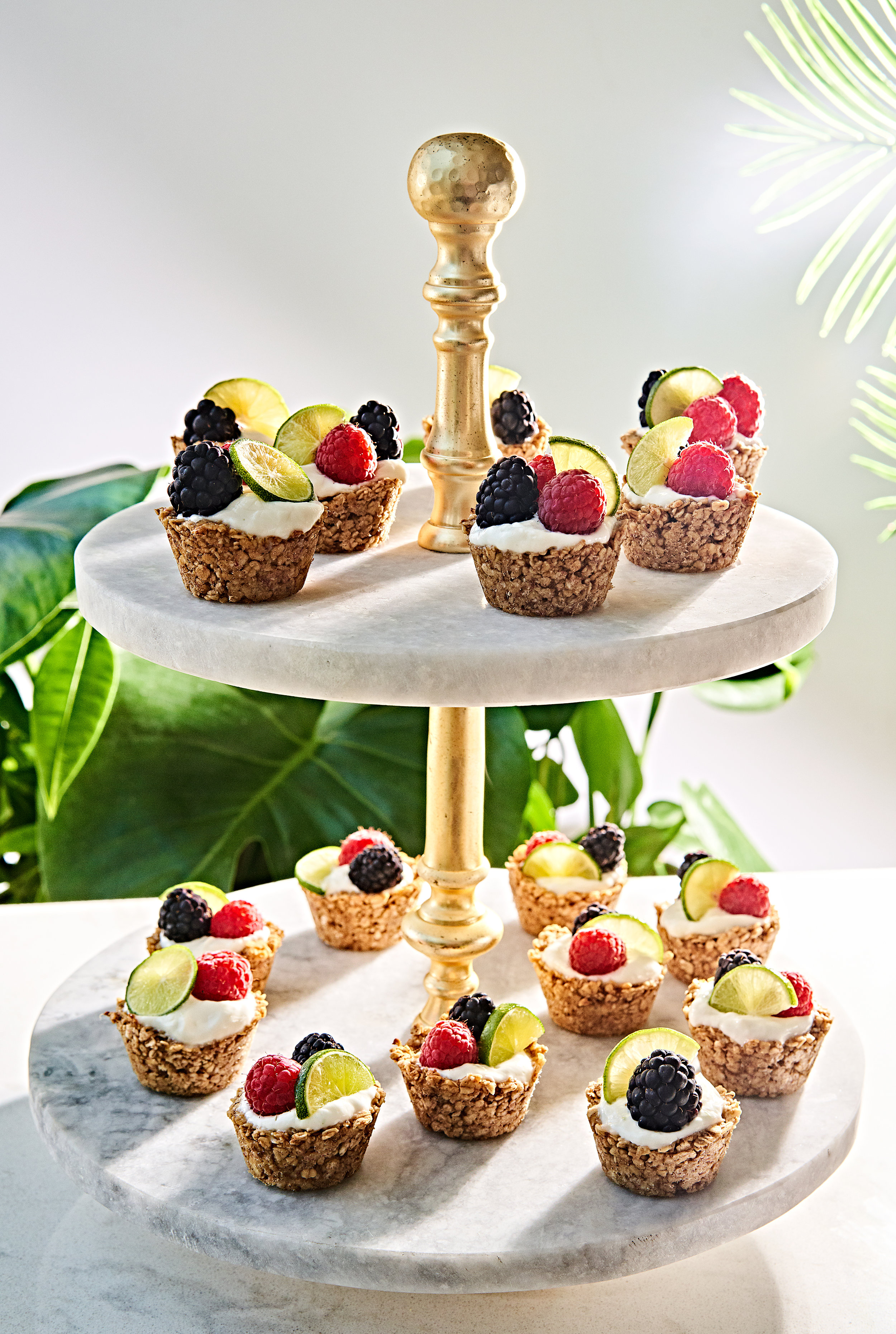 Yogurt topped granola cups with berries