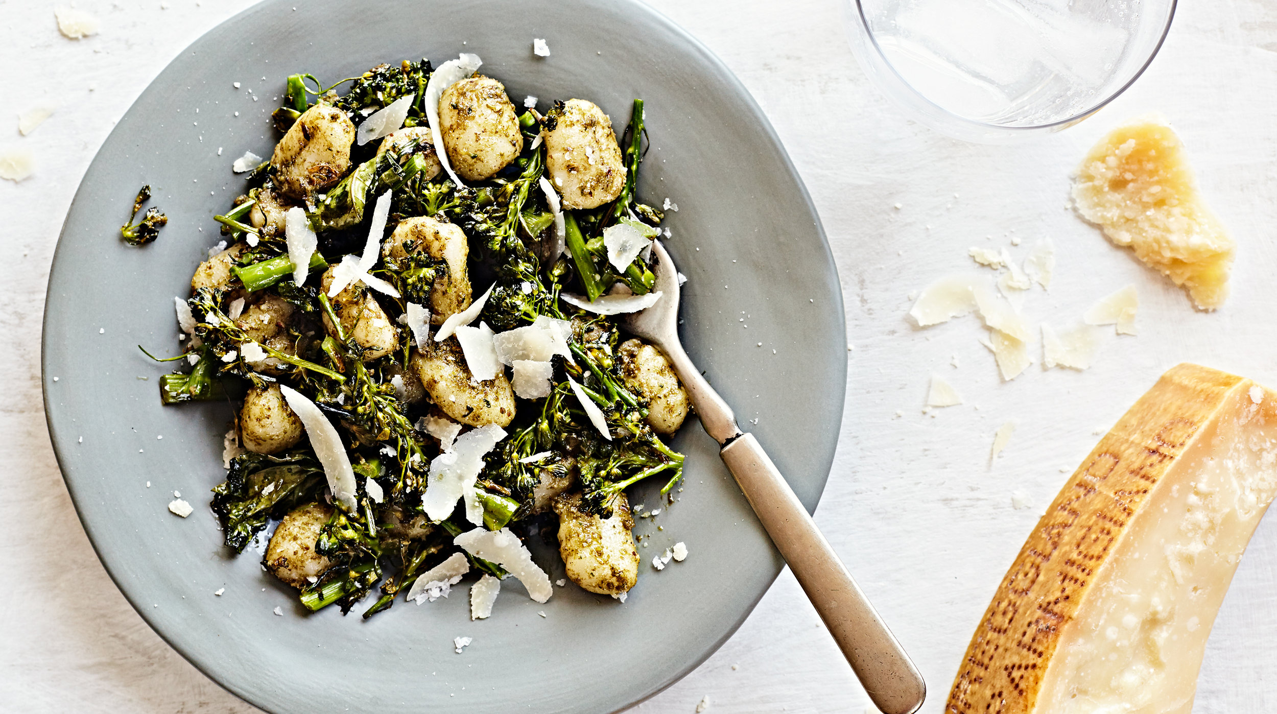 Gluten-free gnocchi with pecan pesto and parmesan cheese