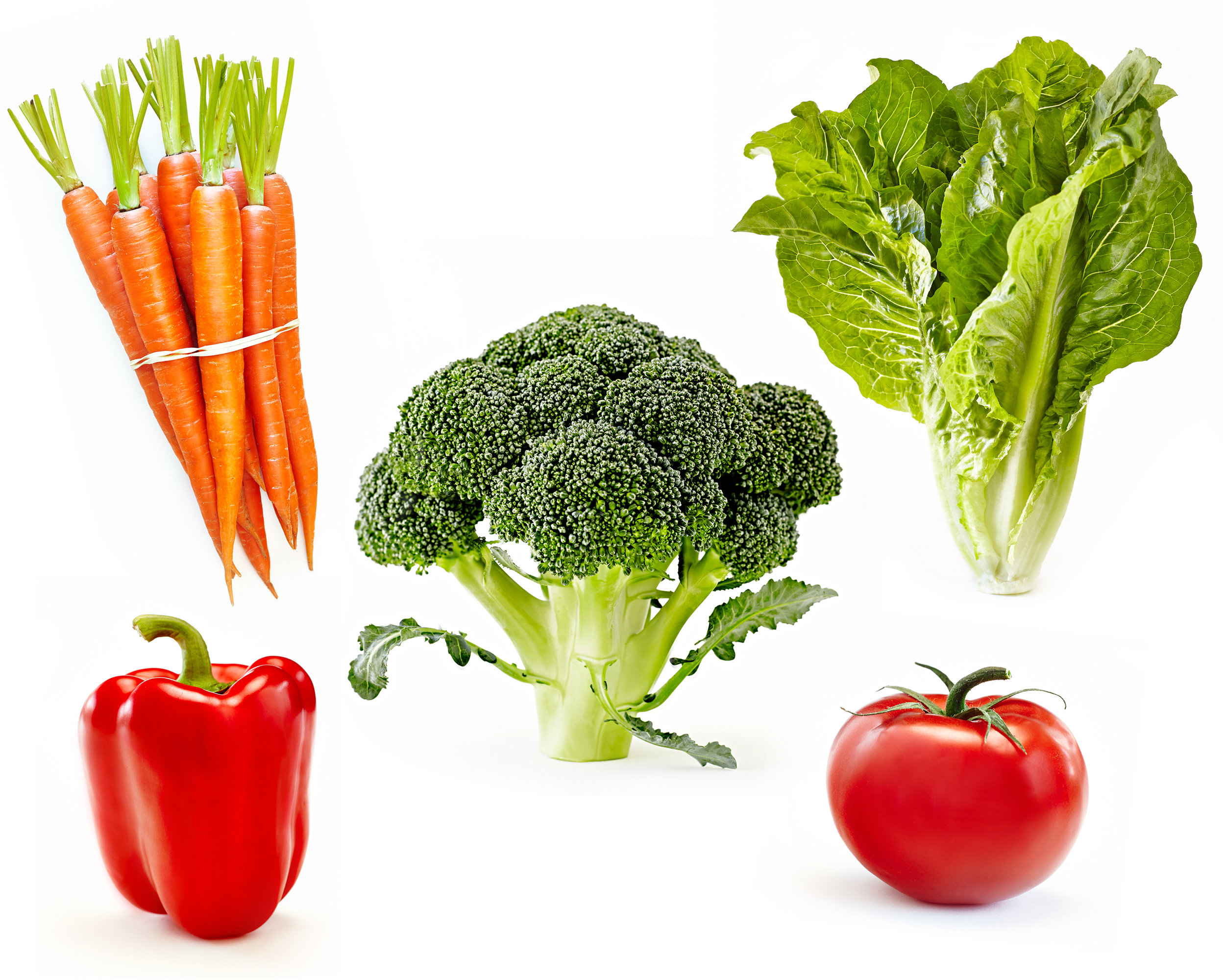 Beautiful fresh vegetables on white carrots, bell pepper, tomatoes, romaine lettuce, and broccoli