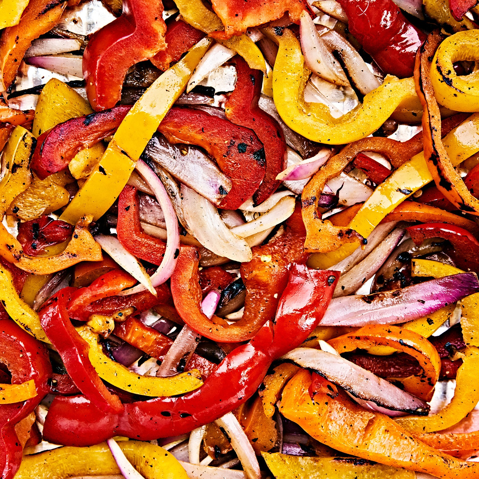 Close up sauteed peppers and onions for fajitas