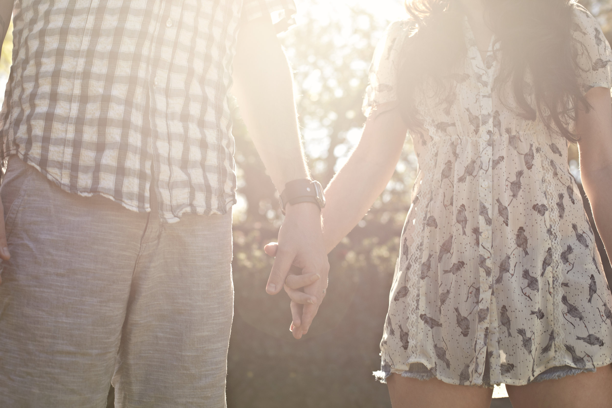 Close-up of young couple holding hands at sunset