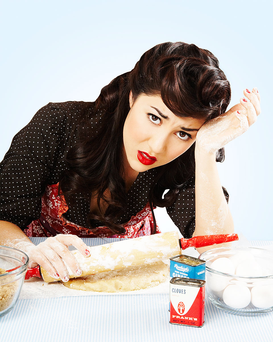 1950s housewife struggling with baking