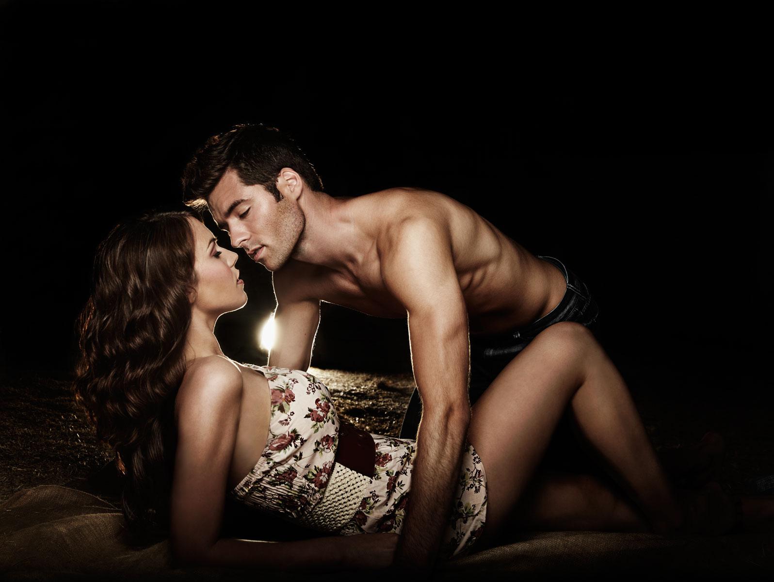 Young caucasian couple in intimate scene
