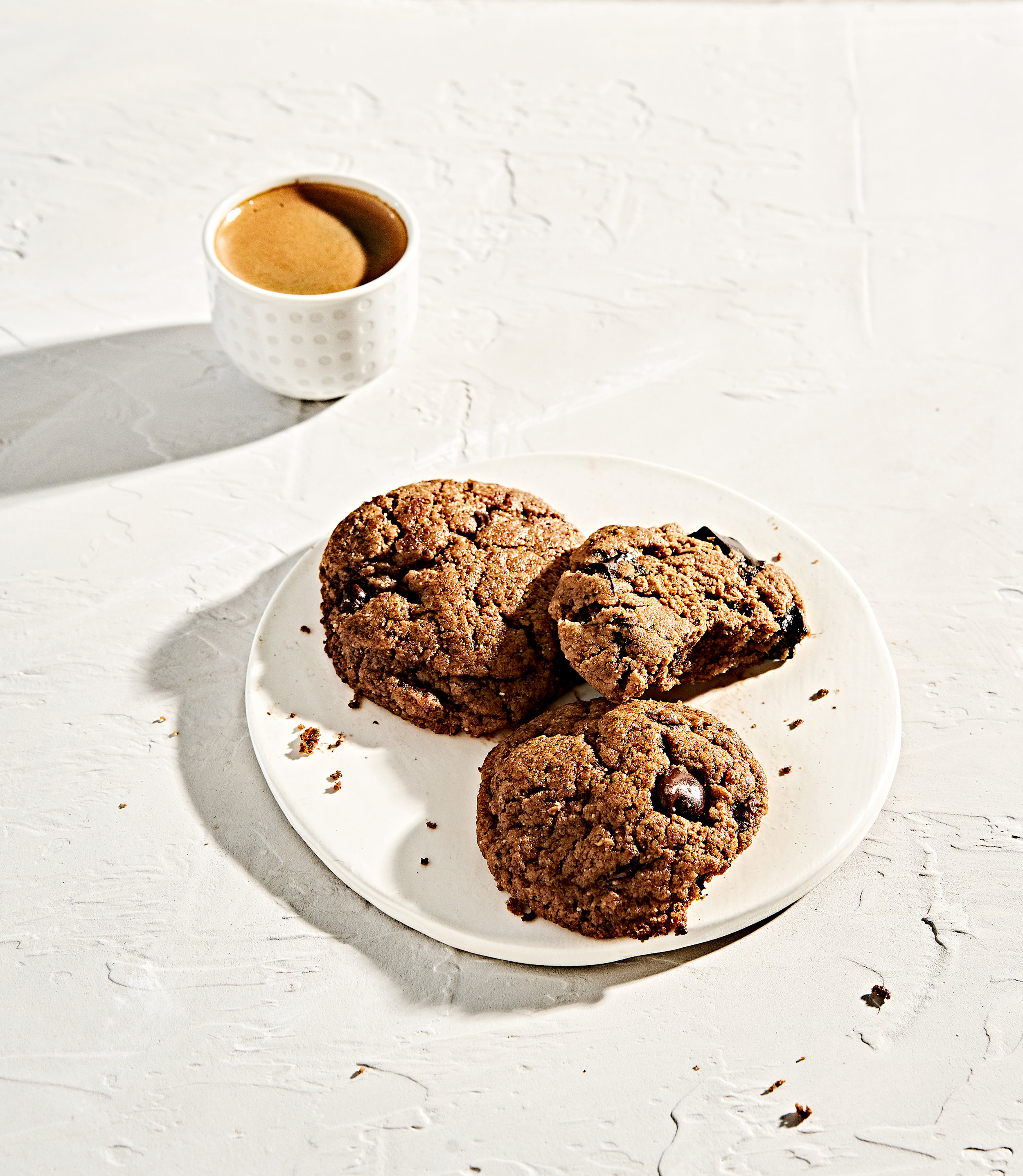 Flourless almond butter chocolate chip cookies with espresso shot