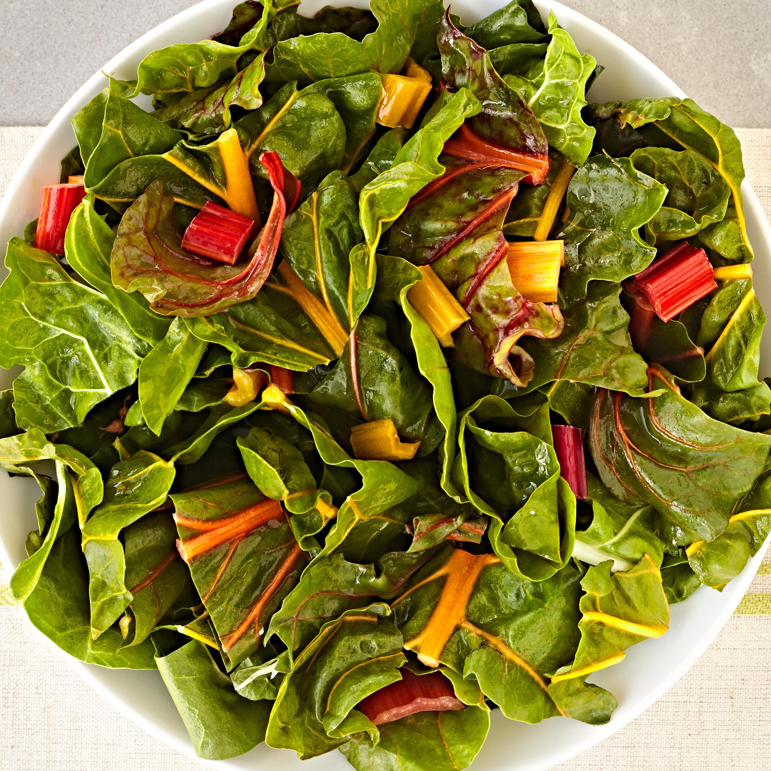 Bowl of fresh chopped rainbow swiss chard