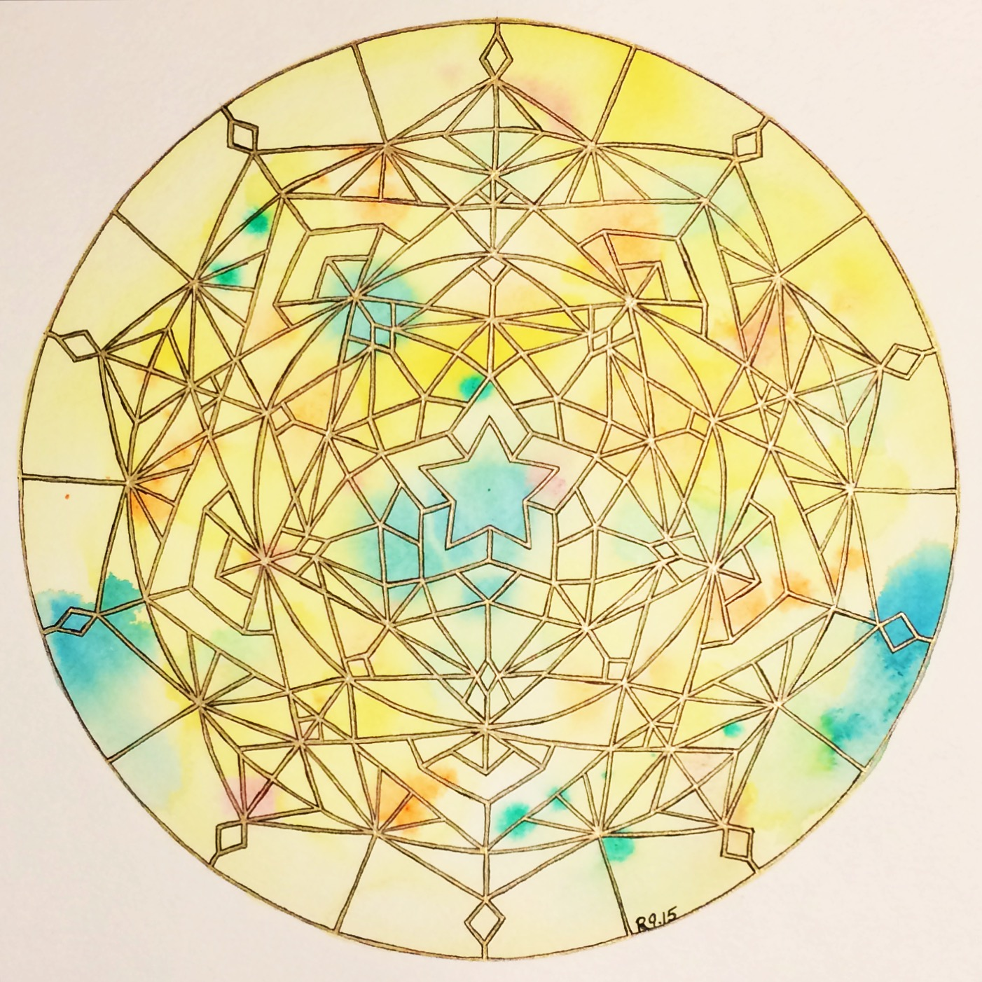 "Solar Plexus Mandala 2015. Watercolor and pen on 12"" x 12"" paper."