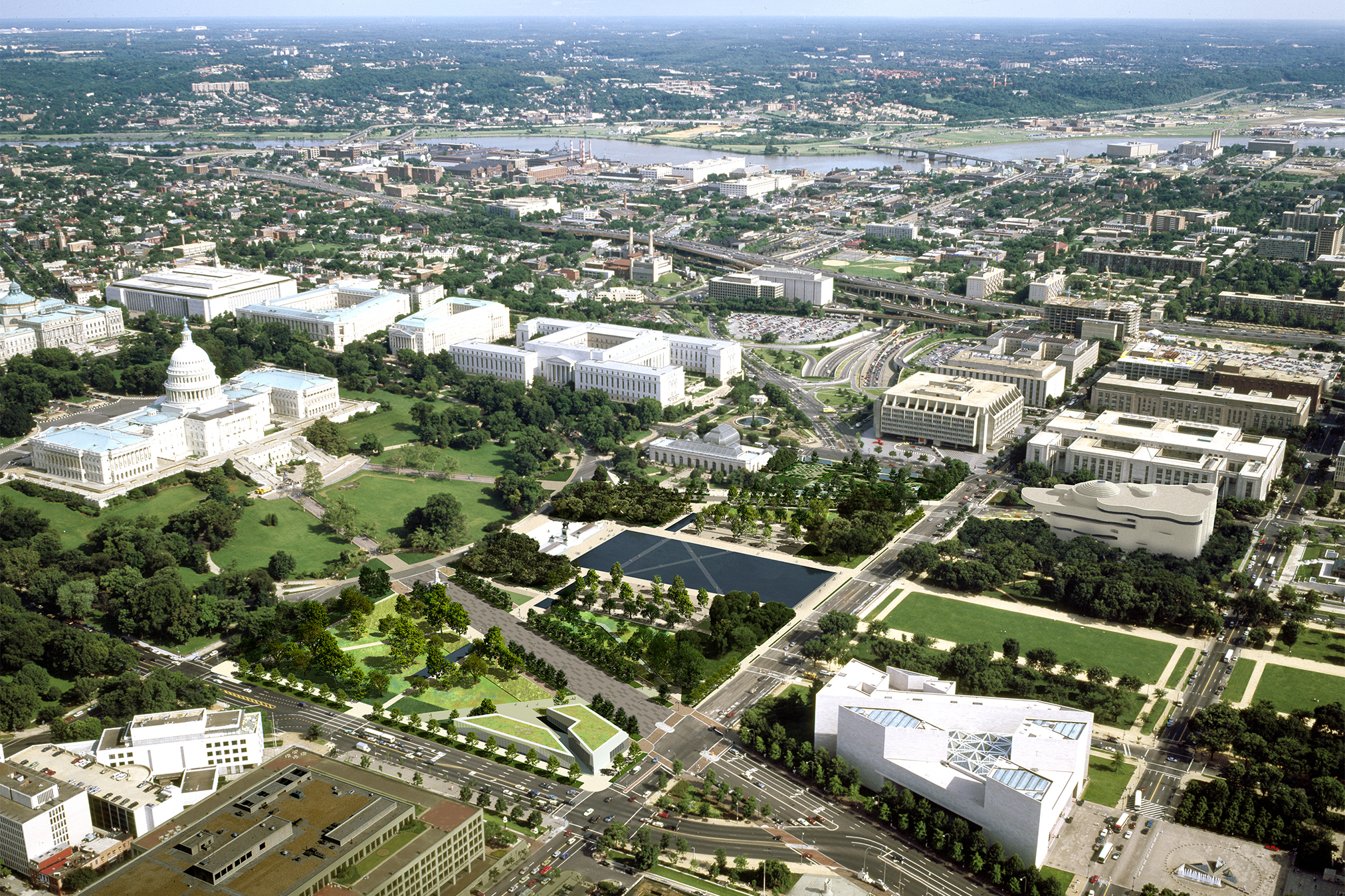 Aerial view of Washington, D.C., focusing on the west side of the U.S. Capitol and its reflecting pool.
