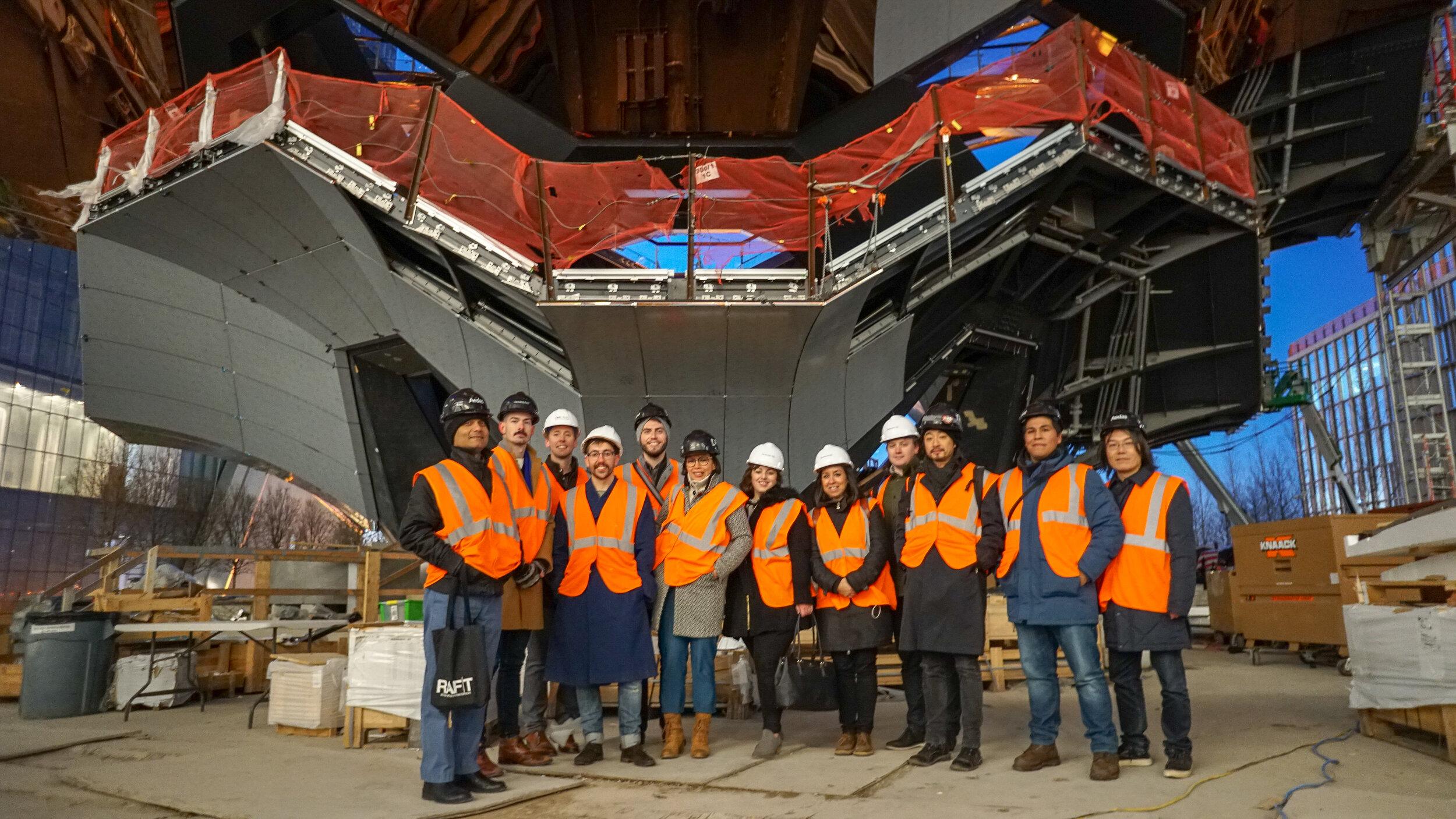 (Cold) visitors at the foot of Vessel, from left: Satyendra, André, Newt, Taylor, Shane, Daisy, Julia, Olga, Max, Simon, Brian, Sang
