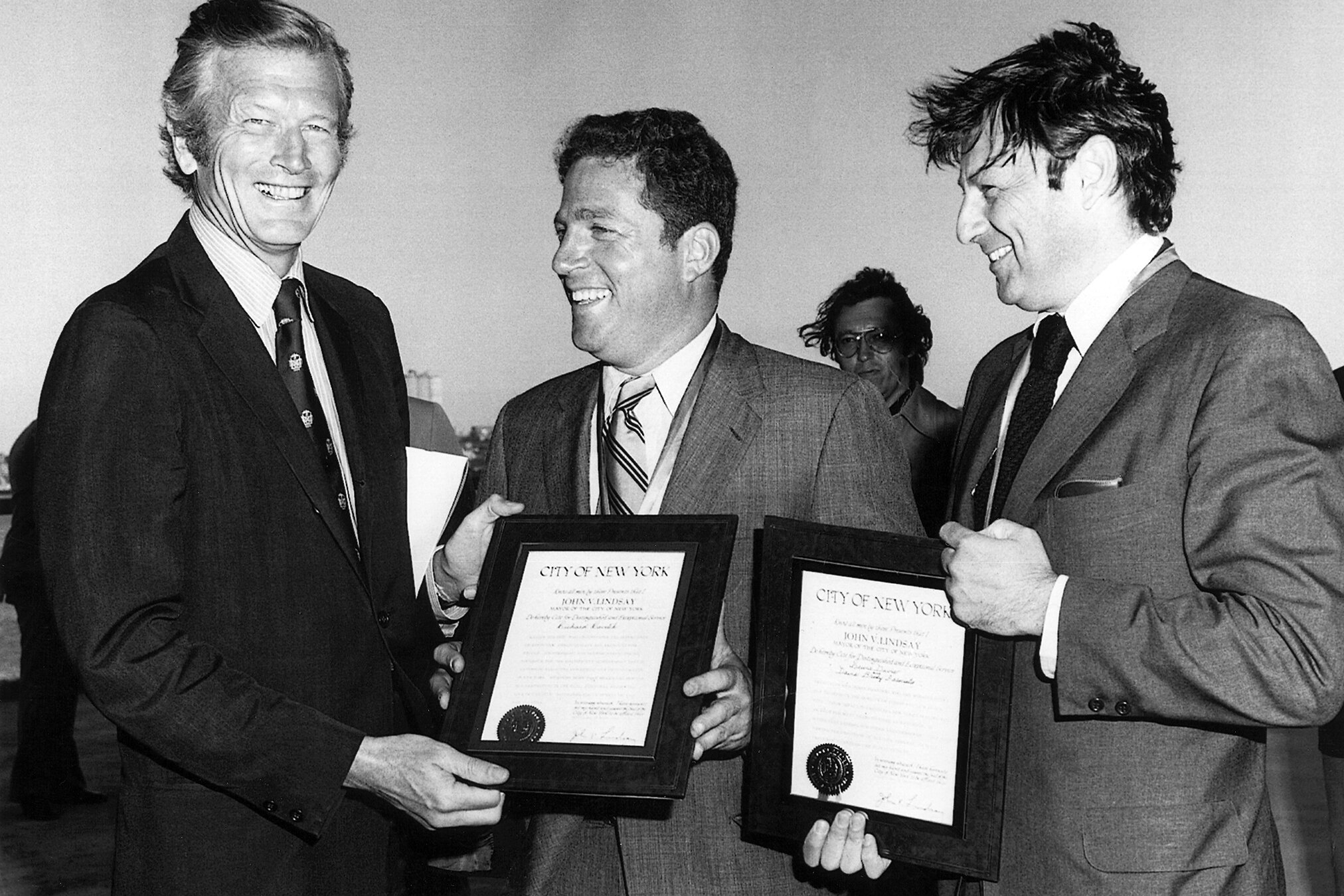 Richard Ravitch (center) and Lew Davis (right) honored for the project by NYC Mayor John Lindsay (1974)
